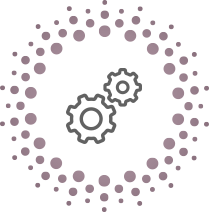 circle made up of little circles with a cartoon cogs in the middle